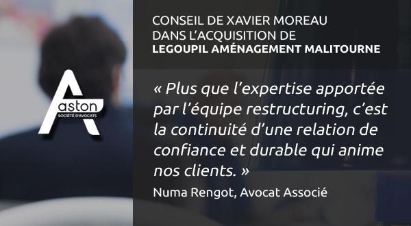 [Deal – Restructuring] Aston Avocats conseille Xavier Moreau dans l'acquisition d'une entité d'aménagement d'intérieur