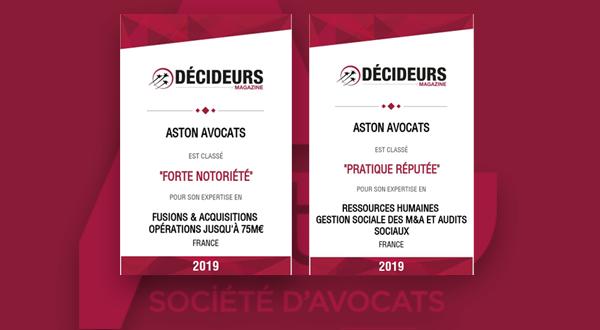 [Classement Décideurs] Aston Avocats classé par le Guide 2019 «Fusions-Acquisitions»