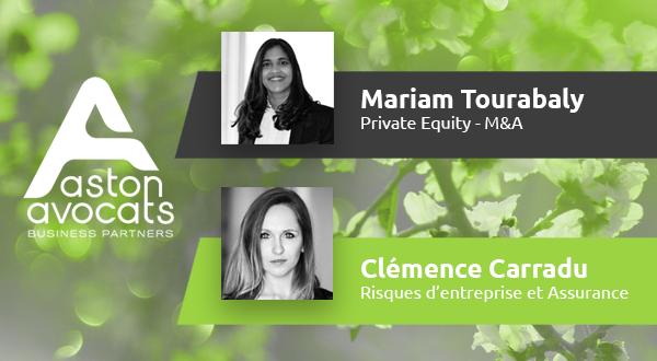[TEAM] Les départements Private Equity- M&A et Risques & Assurance accueillent 2 nouveaux talents